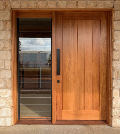 Flush VJ Rosewood timber front door with louvre gallery sidelight